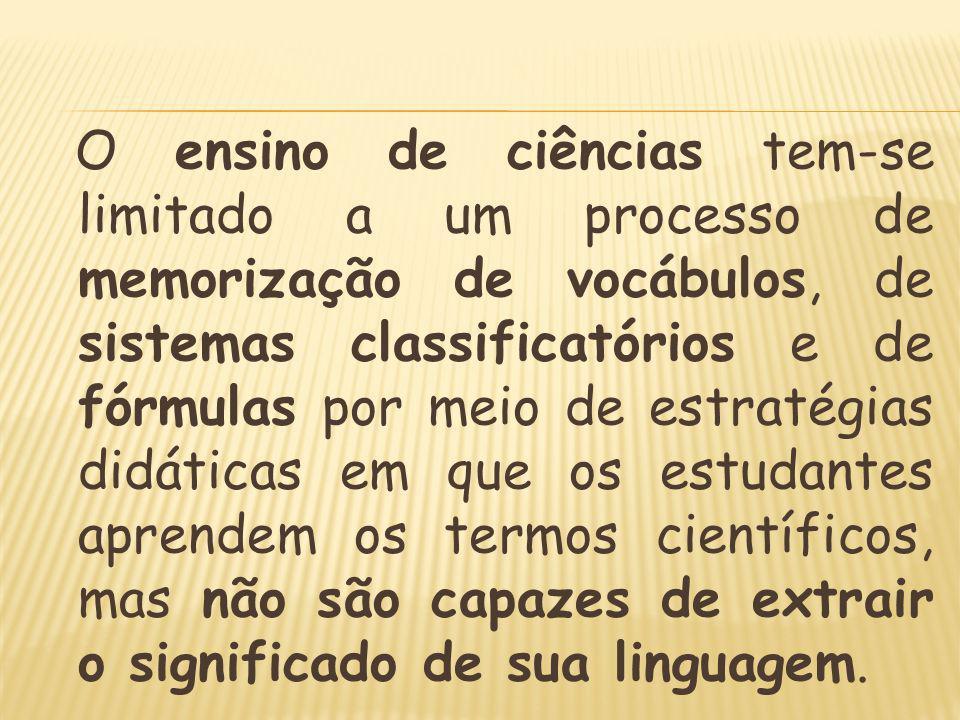 O ensino de ciências tem-se limitado a um processo de memorização de vocábulos, de sistemas classificatórios e de fórmulas por meio de estratégias didáticas em que os estudantes aprendem os termos científicos, mas não são capazes de extrair o significado de sua linguagem.