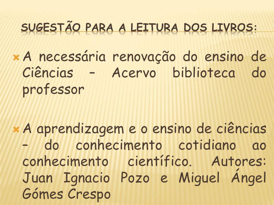 SUGESTÃO PARA A LEITURA DOS Livros: