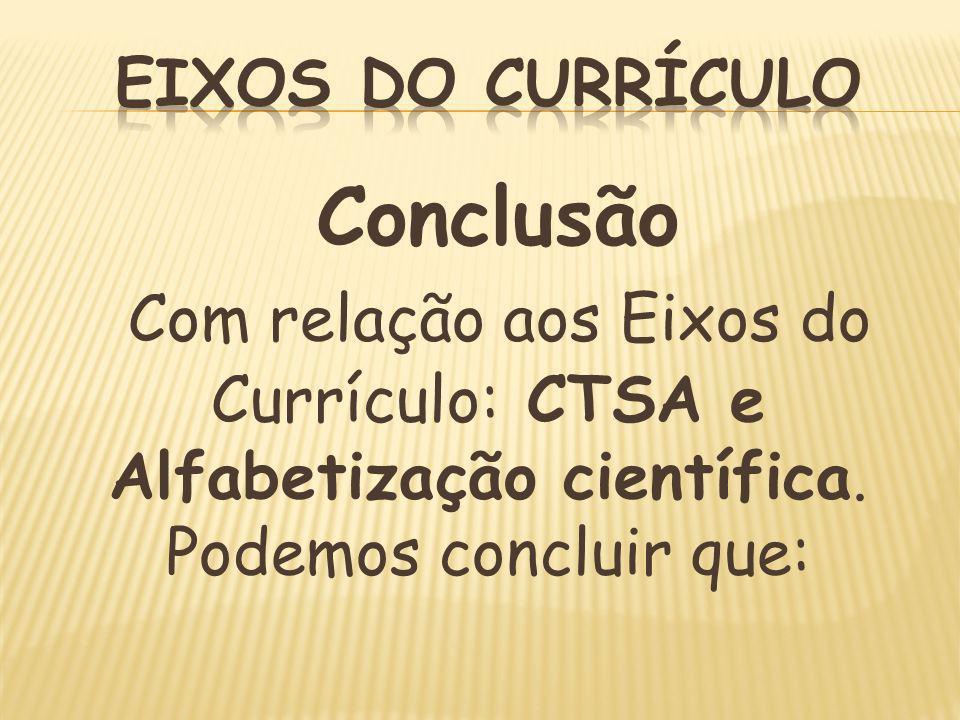 Eixos do CurrículoConclusão.Com relação aos Eixos do Currículo: CTSA e Alfabetização científica.