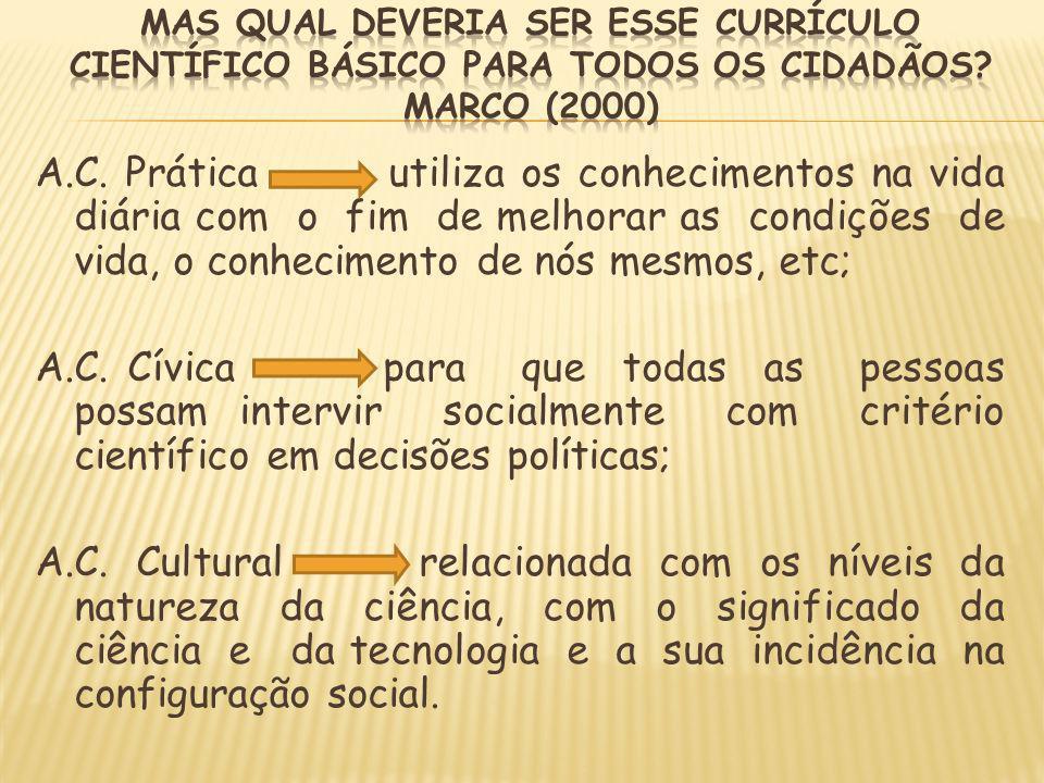 Mas qual deveria ser esse currículo científico básico para todos os cidadãos Marco (2000)
