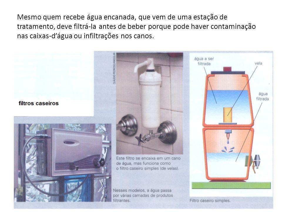 Mesmo quem recebe água encanada, que vem de uma estação de tratamento, deve filtrá-la antes de beber porque pode haver contaminação nas caixas-d'água ou infiltrações nos canos.