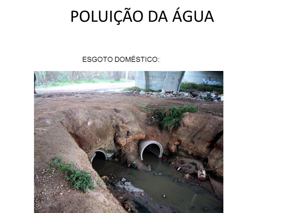 POLUIÇÃO DA ÁGUA ESGOTO DOMÉSTICO: