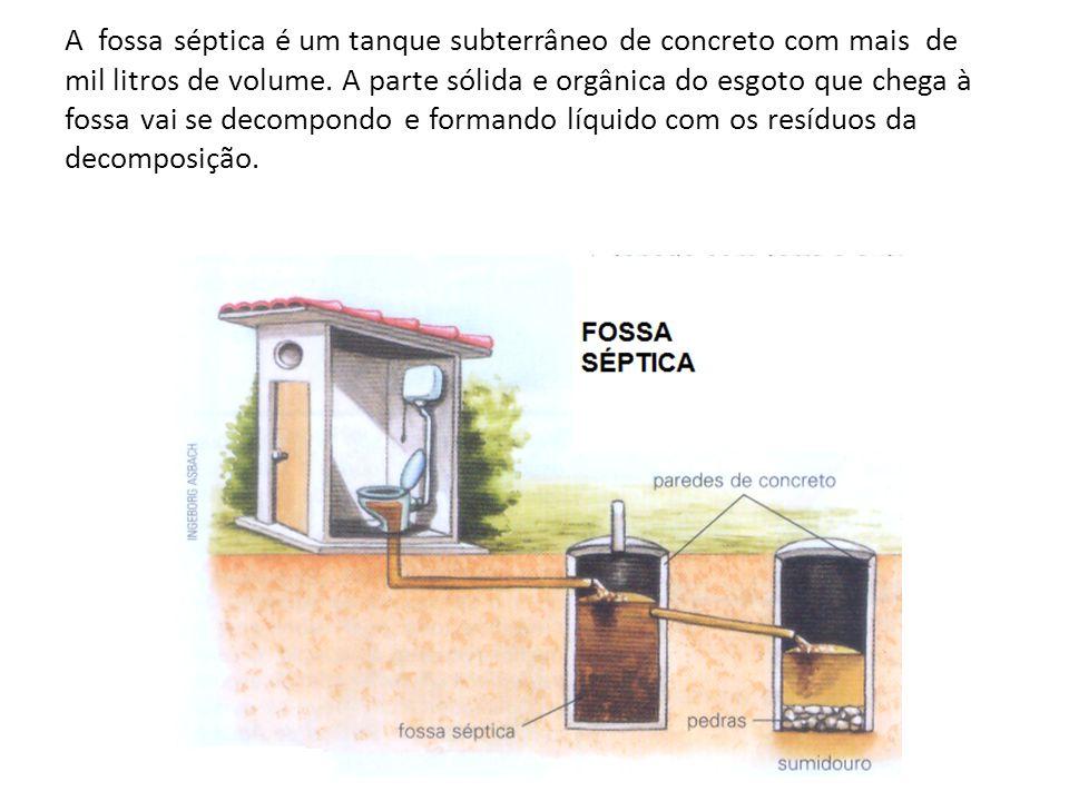 A fossa séptica é um tanque subterrâneo de concreto com mais de mil litros de volume.