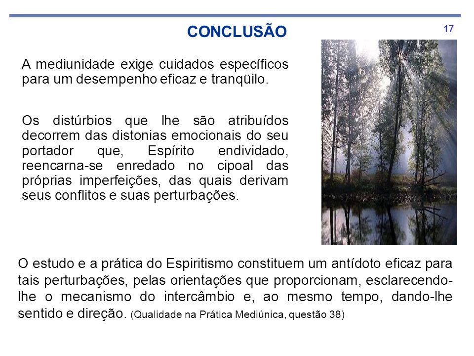 CONCLUSÃOA mediunidade exige cuidados específicos para um desempenho eficaz e tranqüilo.