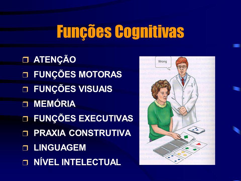 Funções Cognitivas ATENÇÃO FUNÇÕES MOTORAS FUNÇÕES VISUAIS MEMÓRIA