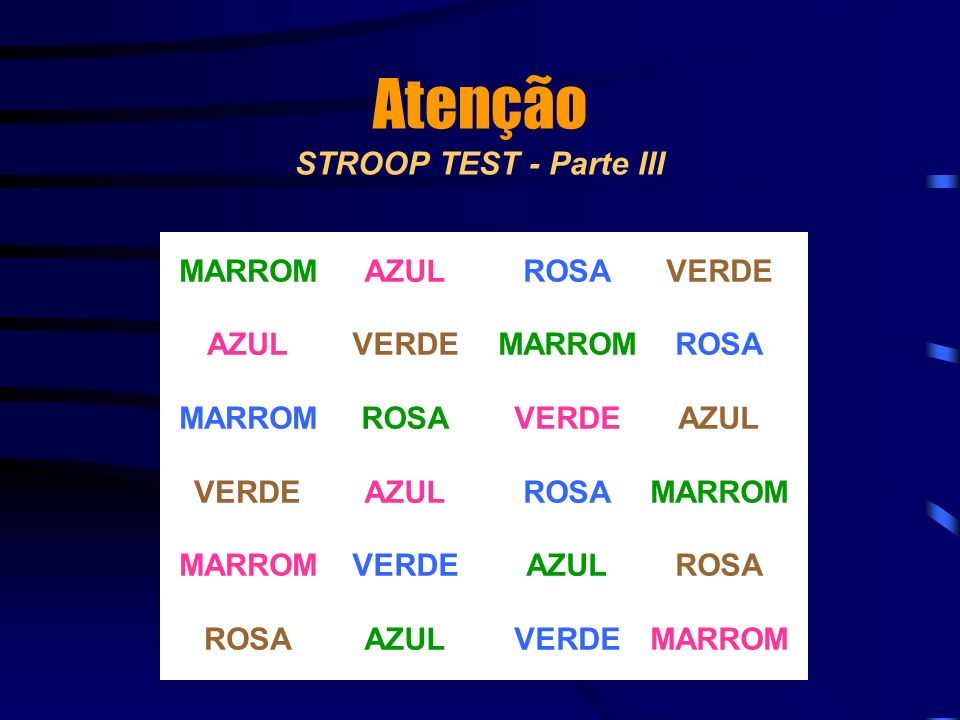 Atenção STROOP TEST - Parte III