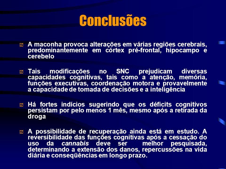 Conclusões A maconha provoca alterações em várias regiões cerebrais, predominantemente em córtex pré-frontal, hipocampo e cerebelo.