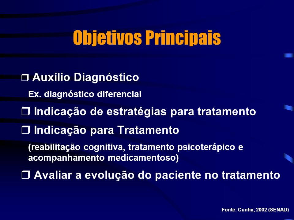 Objetivos Principais Indicação de estratégias para tratamento