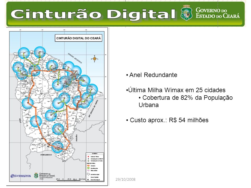 Última Milha Wimax em 25 cidades Cobertura de 82% da População Urbana