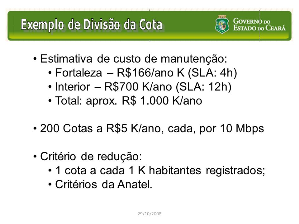 Estimativa de custo de manutenção: Fortaleza – R$166/ano K (SLA: 4h)