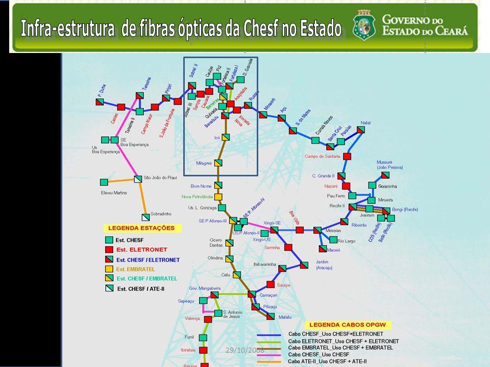 Infra-estrutura de fibras ópticas da Chesf no Estado