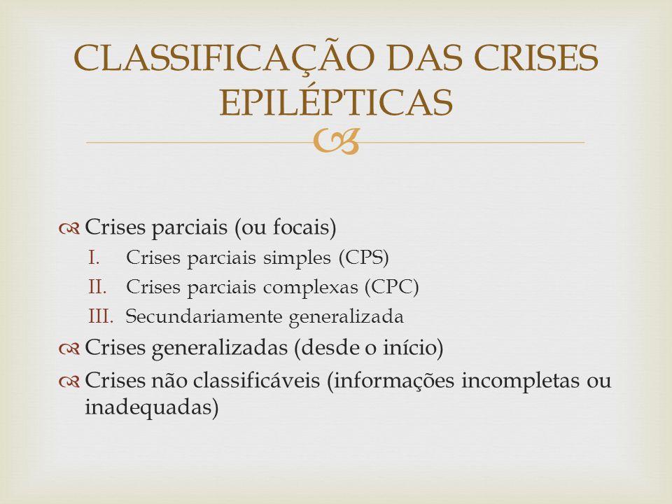 CLASSIFICAÇÃO DAS CRISES EPILÉPTICAS