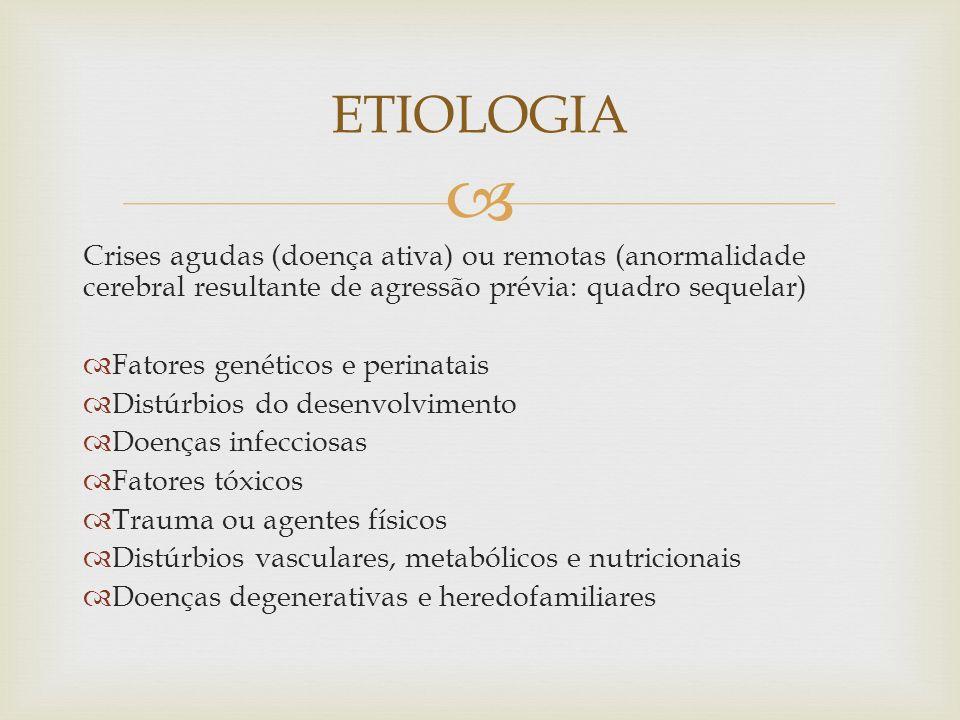 ETIOLOGIA Crises agudas (doença ativa) ou remotas (anormalidade cerebral resultante de agressão prévia: quadro sequelar)