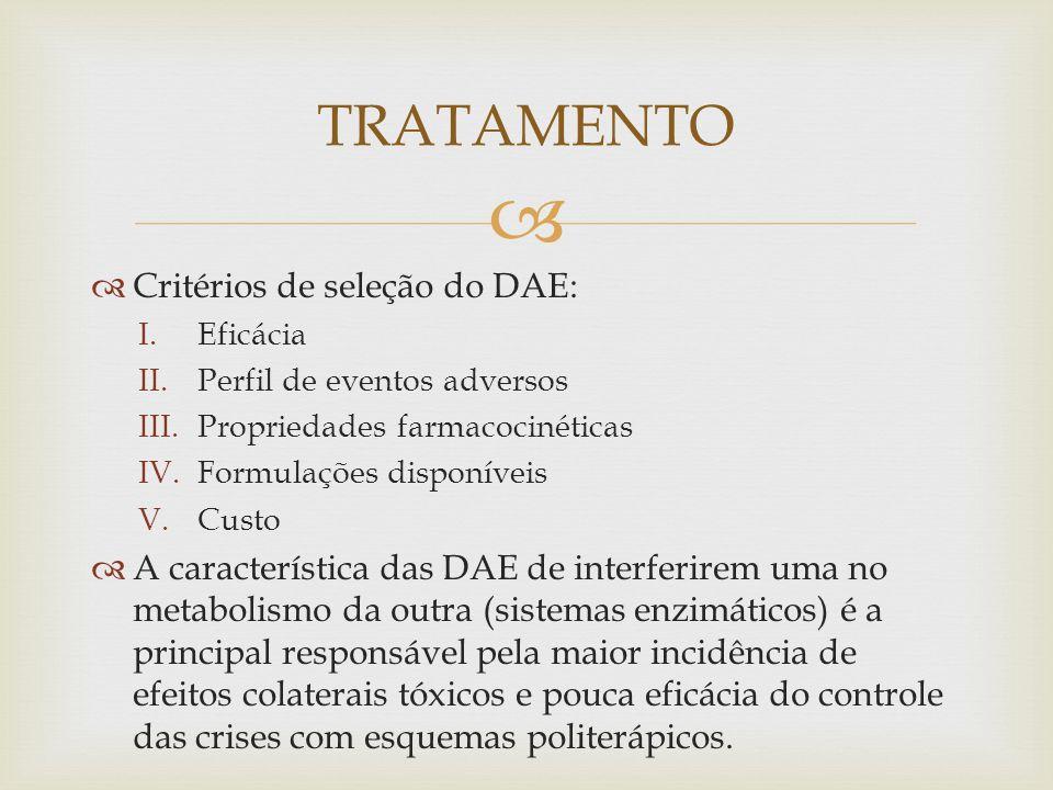 TRATAMENTO Critérios de seleção do DAE: