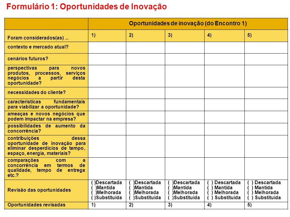 Oportunidades de inovação (do Encontro 1)