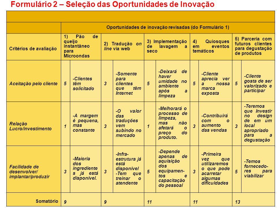 Formulário 2 – Seleção das Oportunidades de Inovação