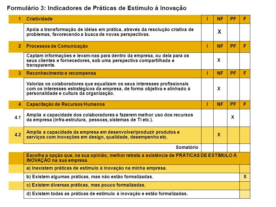 Formulário 3: Indicadores de Práticas de Estímulo à Inovação