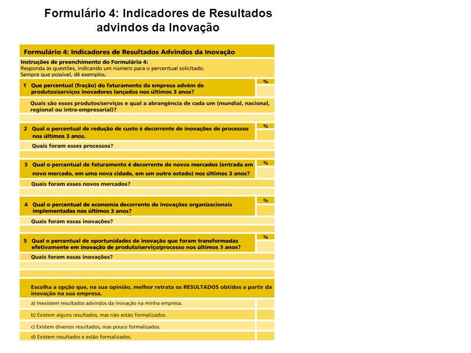 Formulário 4: Indicadores de Resultados