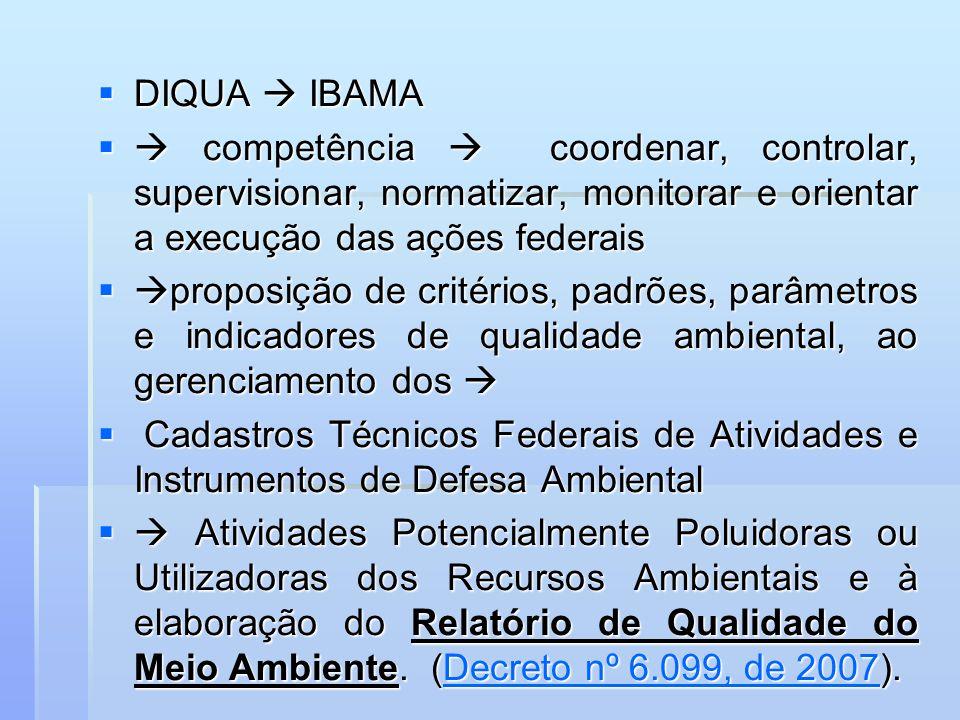 DIQUA  IBAMA  competência  coordenar, controlar, supervisionar, normatizar, monitorar e orientar a execução das ações federais.