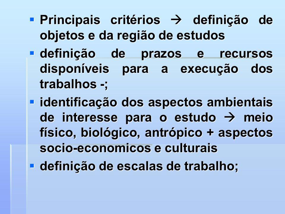 Principais critérios  definição de objetos e da região de estudos