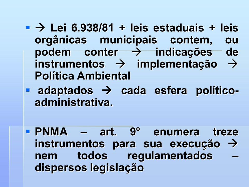  Lei 6.938/81 + leis estaduais + leis orgânicas municipais contem, ou podem conter  indicações de instrumentos  implementação  Política Ambiental
