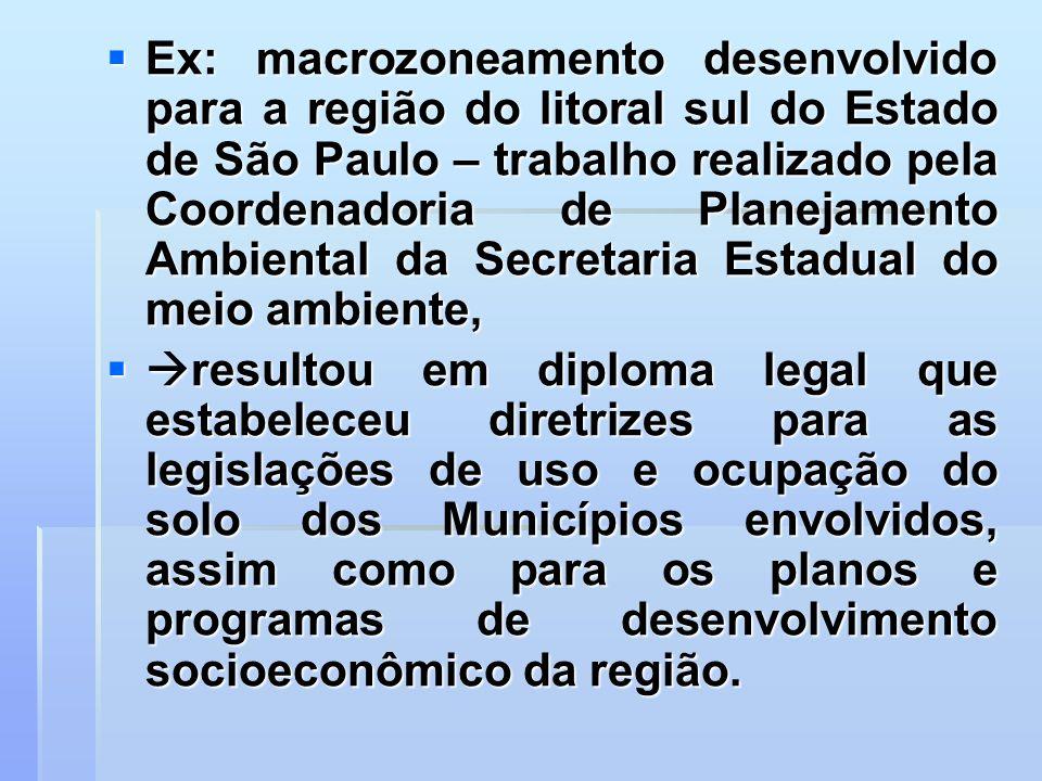 Ex: macrozoneamento desenvolvido para a região do litoral sul do Estado de São Paulo – trabalho realizado pela Coordenadoria de Planejamento Ambiental da Secretaria Estadual do meio ambiente,