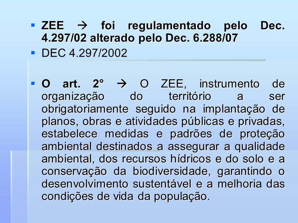 ZEE  foi regulamentado pelo Dec. 4.297/02 alterado pelo Dec. 6.288/07