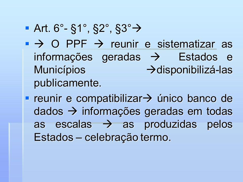 Art. 6°- §1°, §2°, §3°  O PPF  reunir e sistematizar as informações geradas  Estados e Municípios disponibilizá-las publicamente.