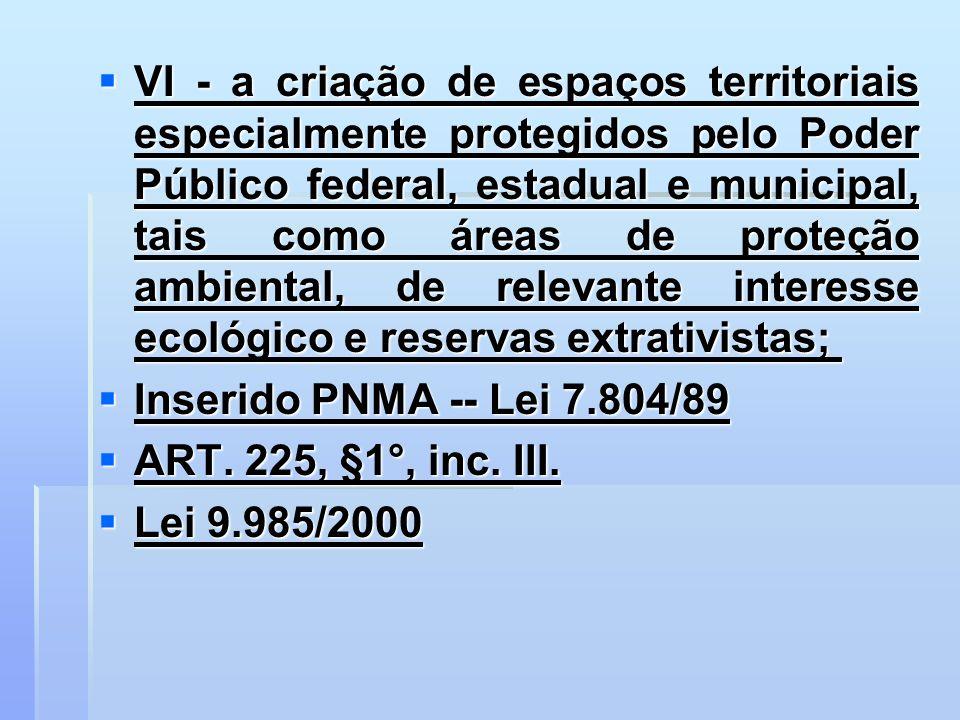 VI - a criação de espaços territoriais especialmente protegidos pelo Poder Público federal, estadual e municipal, tais como áreas de proteção ambiental, de relevante interesse ecológico e reservas extrativistas;