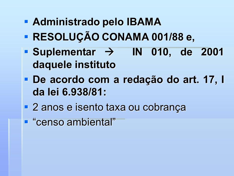 Administrado pelo IBAMA