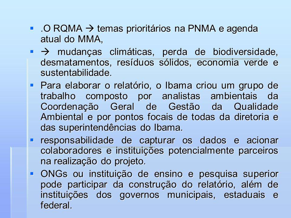 .O RQMA  temas prioritários na PNMA e agenda atual do MMA,