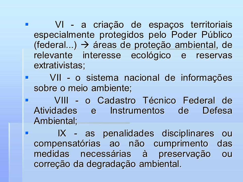 VI - a criação de espaços territoriais especialmente protegidos pelo Poder Público (federal...)  áreas de proteção ambiental, de relevante interesse ecológico e reservas extrativistas;