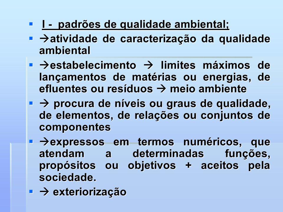 I - padrões de qualidade ambiental;