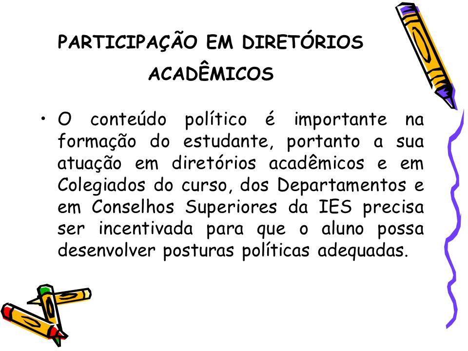 PARTICIPAÇÃO EM DIRETÓRIOS ACADÊMICOS
