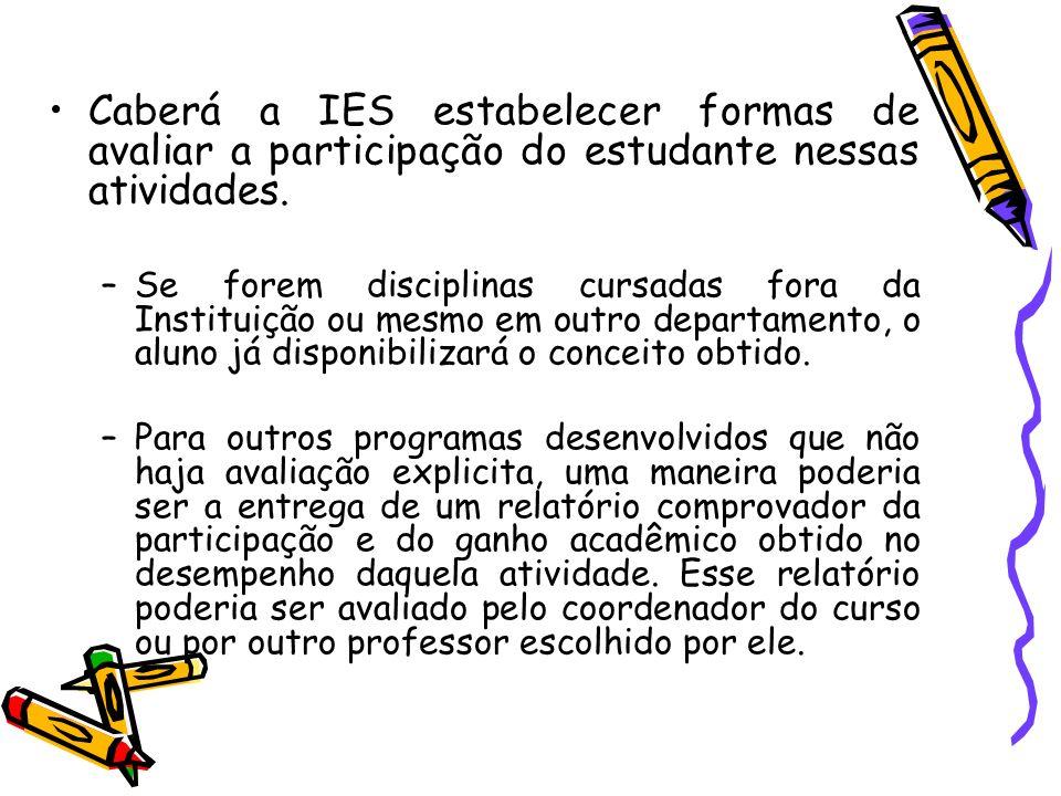 Caberá a IES estabelecer formas de avaliar a participação do estudante nessas atividades.