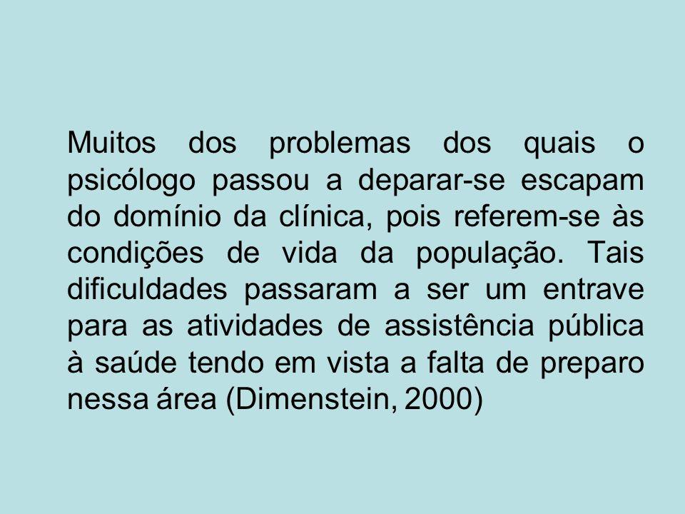 Muitos dos problemas dos quais o psicólogo passou a deparar-se escapam do domínio da clínica, pois referem-se às condições de vida da população.