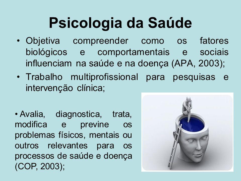 Psicologia da Saúde Objetiva compreender como os fatores biológicos e comportamentais e sociais influenciam na saúde e na doença (APA, 2003);