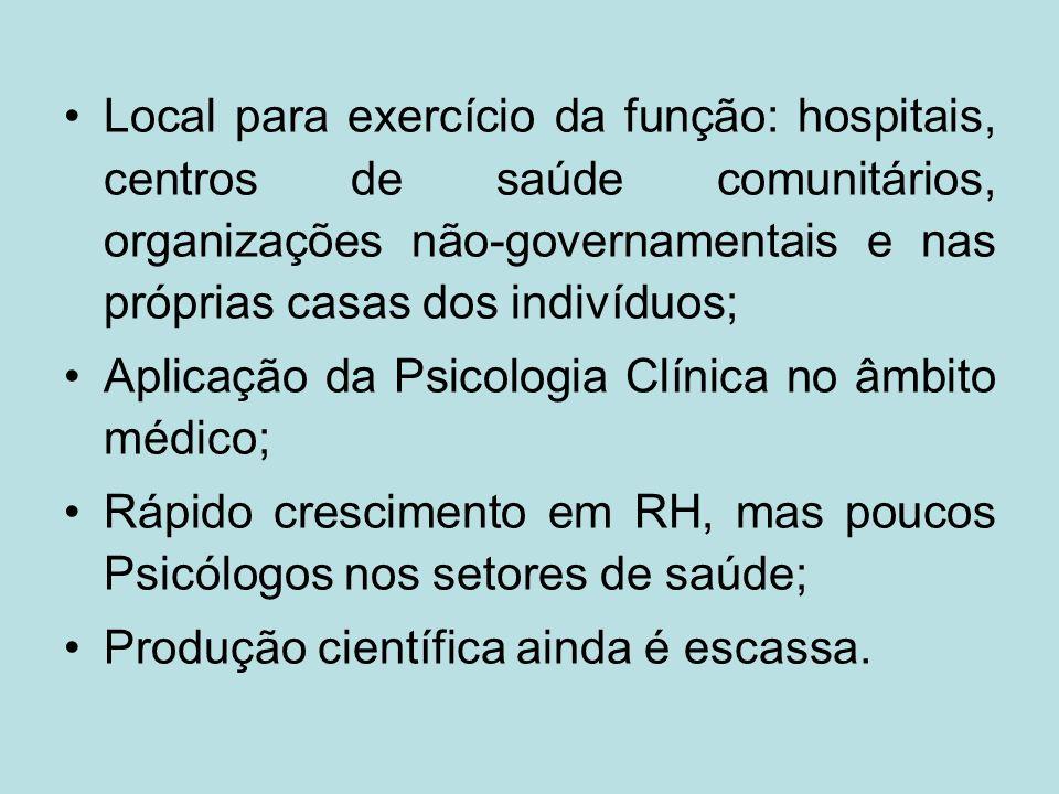 Local para exercício da função: hospitais, centros de saúde comunitários, organizações não-governamentais e nas próprias casas dos indivíduos;