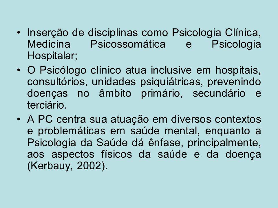 Inserção de disciplinas como Psicologia Clínica, Medicina Psicossomática e Psicologia Hospitalar;