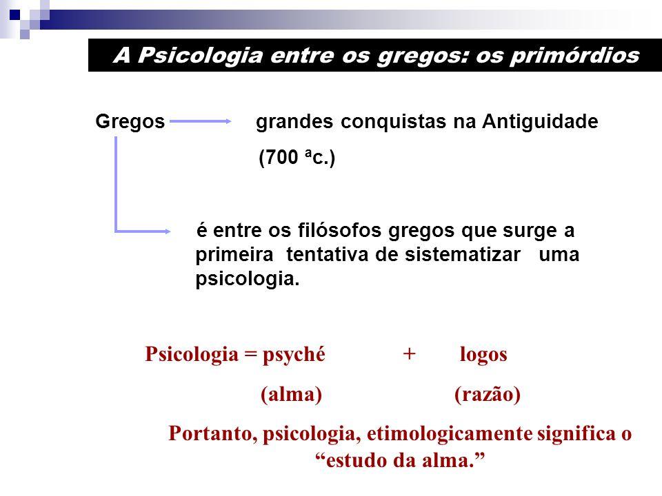 Portanto, psicologia, etimologicamente significa o estudo da alma.