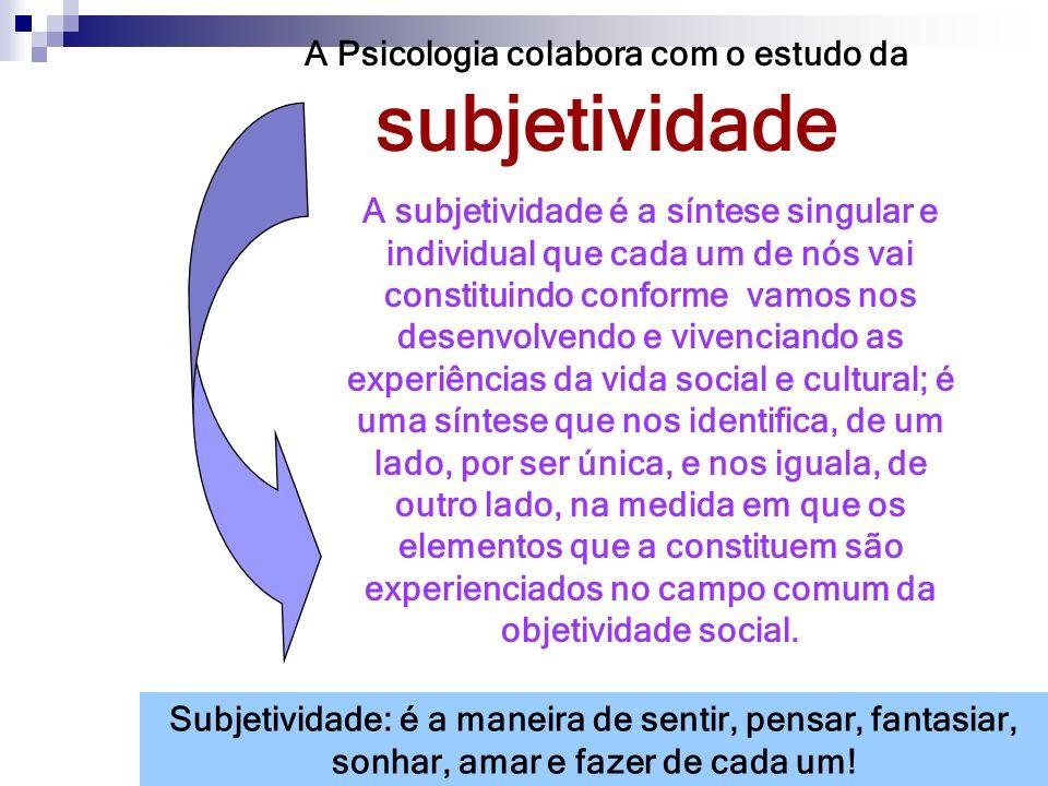 A Psicologia colabora com o estudo da subjetividade