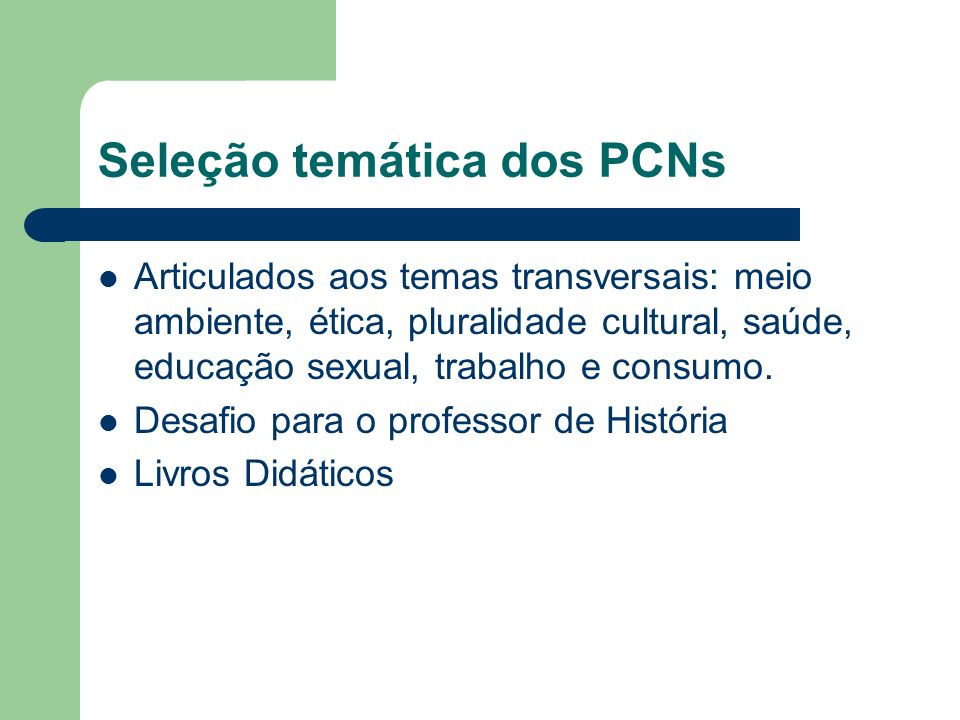 Seleção temática dos PCNs