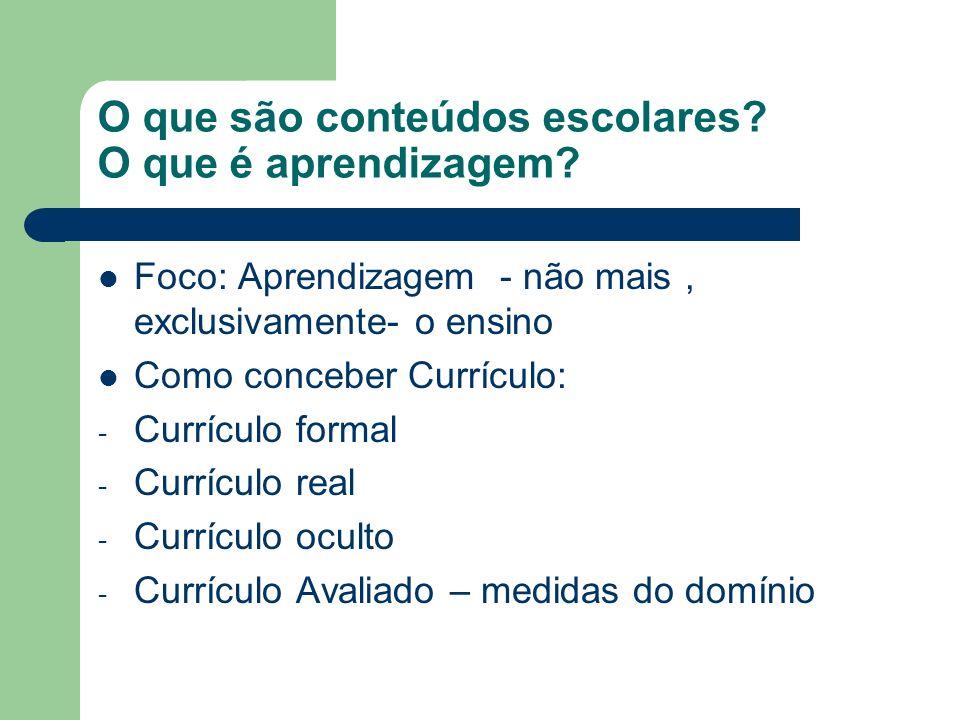 O que são conteúdos escolares O que é aprendizagem