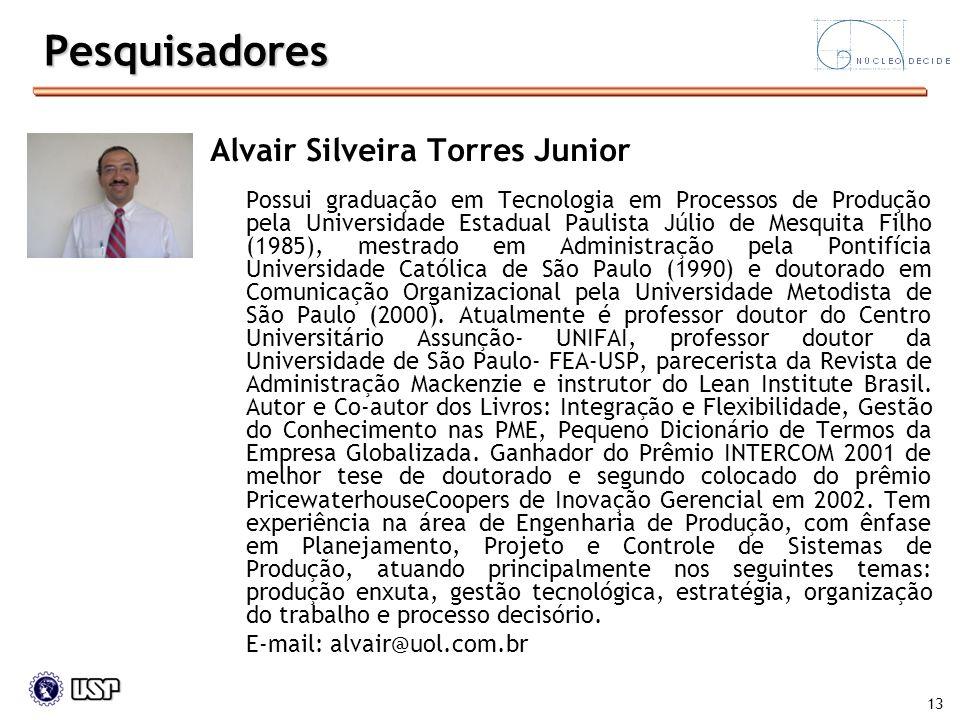 Pesquisadores Alvair Silveira Torres Junior E-mail: alvair@uol.com.br