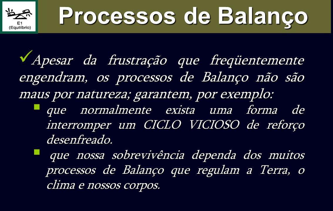 Processos de Balanço Apesar da frustração que freqüentemente engendram, os processos de Balanço não são maus por natureza; garantem, por exemplo: