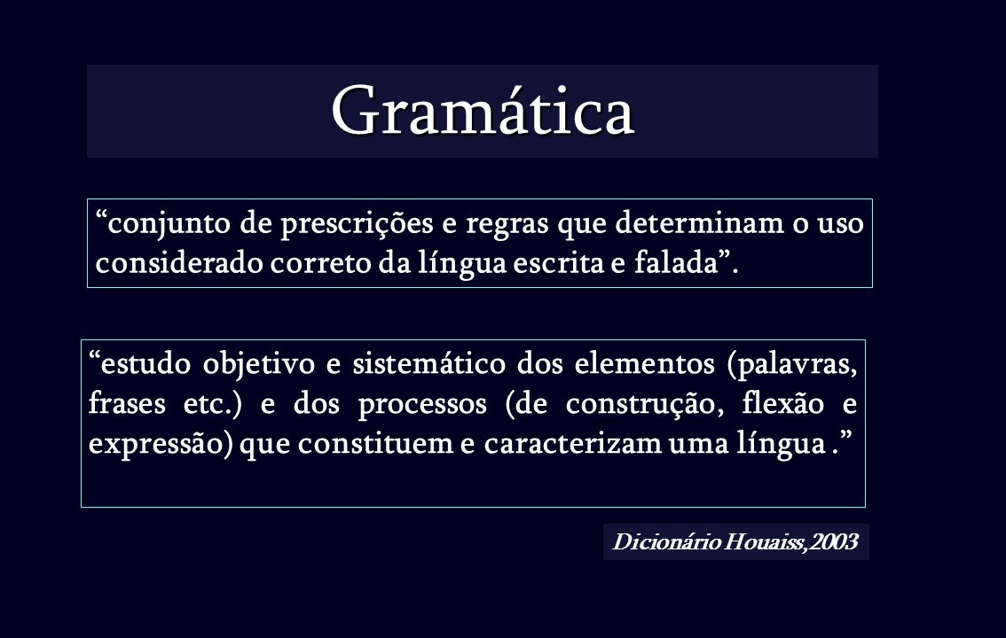 Gramática conjunto de prescrições e regras que determinam o uso considerado correto da língua escrita e falada .