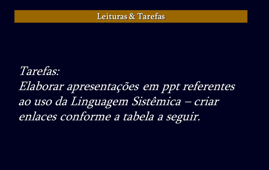 Leituras & TarefasTarefas: Elaborar apresentações em ppt referentes ao uso da Linguagem Sistêmica – criar enlaces conforme a tabela a seguir.