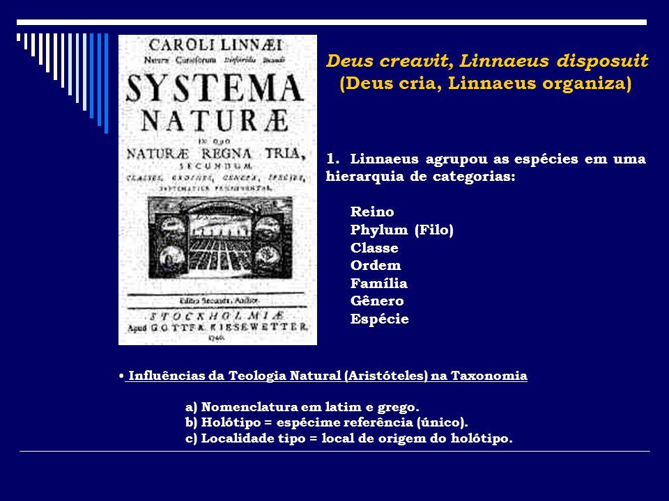 Deus creavit, Linnaeus disposuit (Deus cria, Linnaeus organiza)