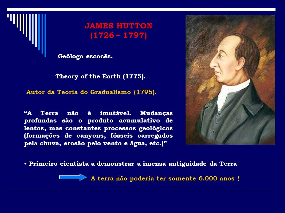 JAMES HUTTON (1726 – 1797) Geólogo escocês.