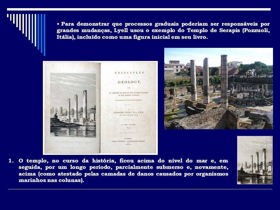 Para demonstrar que processos graduais poderiam ser responsáveis por grandes mudanças, Lyell usou o exemplo do Templo de Serapis (Pozzuoli, Itália), incluído como uma figura inicial em seu livro.
